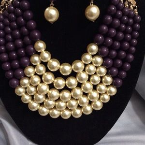 Purple and gold pearls necklace set